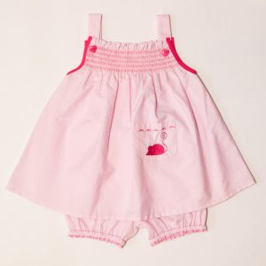 Robe Bébé à Smocks Rose Tendre