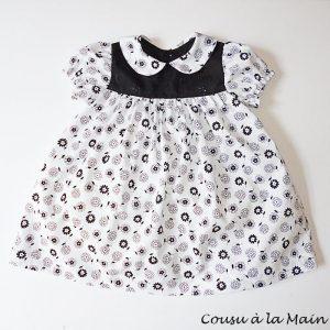 Robe Bébé Imprimé Fleuri Noir & Blanc