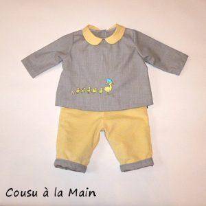 Pantalon Bébé en Velours & Brassière Brodée