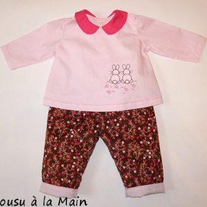Pantalon Bébé en Velours à Motifs & Brassière