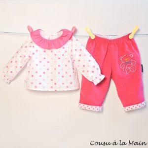Pantalon Bébé en Velours & Brassière à Volants