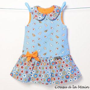 Robe Enfant Imprimée à Col Claudine