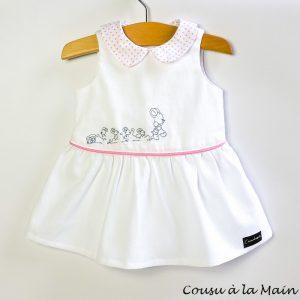 Robe Bébé à Col Claudine en Piqué de Coton