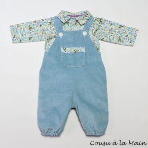 Salopette Bébé Bleu Gris & Chemise à Motifs