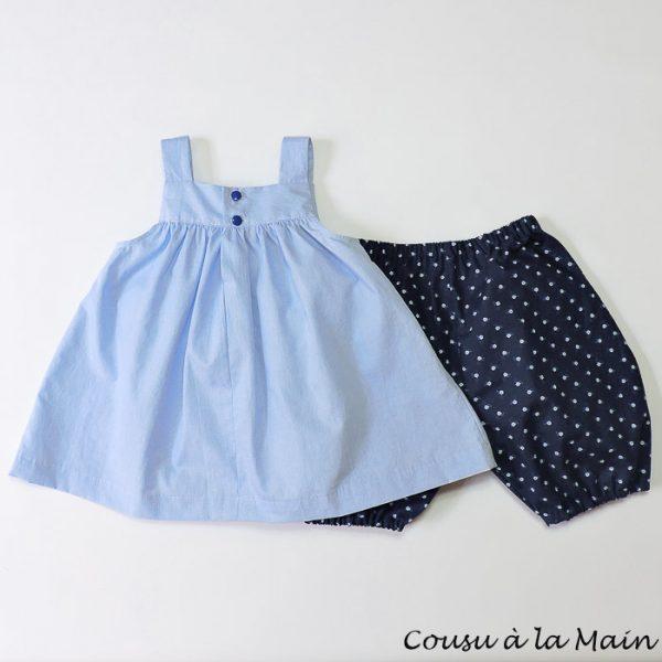 Robe Bébé à Bretelles Coton Chemise & Bloomer