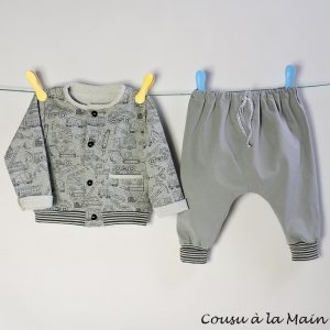 Gilet Bébé en Sweat à Motifs Garçon & Pantalon