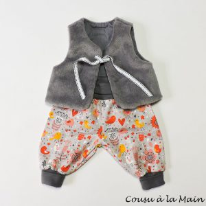 Pantalon Bébé Fille Jersey à Motifs et Gilet de Berger
