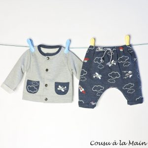 Gilet Sweat Bébé Pantalon Sarouel Jersey à Motifs