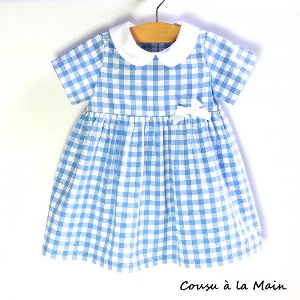 Robe Fillette Carreaux Vichy Bleu Col Claudine