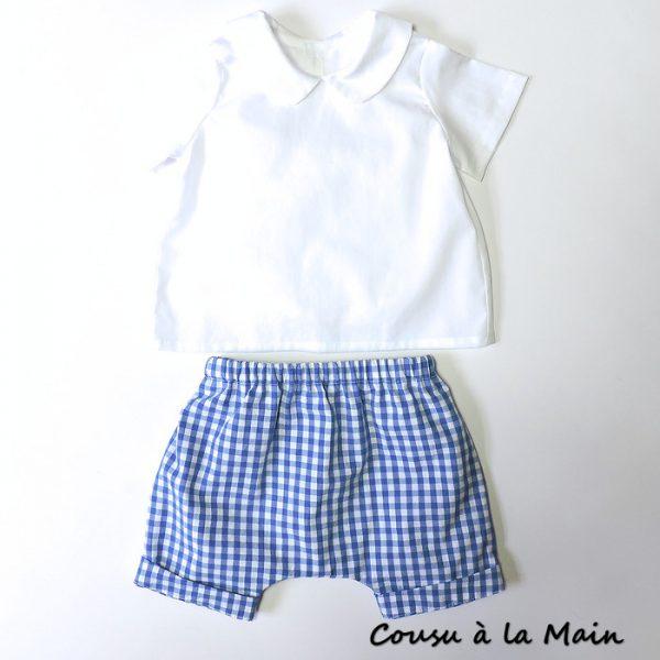 Ensemble Bébé Garçon Chemise & Short à Carreaux