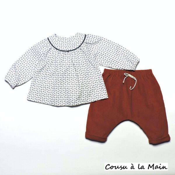 Ensemble Bébé Fille Blouse & Sarouel Velours